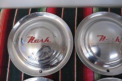 1952 1955 Nash 15 Inch Set Of 4 Stainless Steel Hubcaps Original