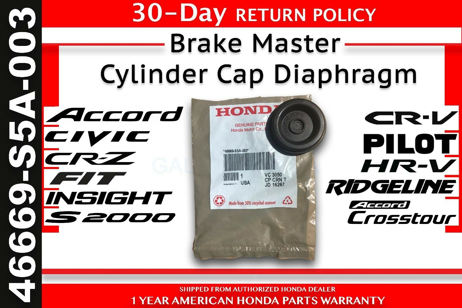 Genuine Oem Honda Brake Master Cylinder Cap Diaphragm Spacer 46669 2004 Crv Parts Discount Factory And S5a 003 For Sale