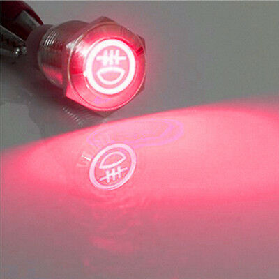 Red 16mm 12v Led Push Button Metal Toggle Switch Rear Fog Light