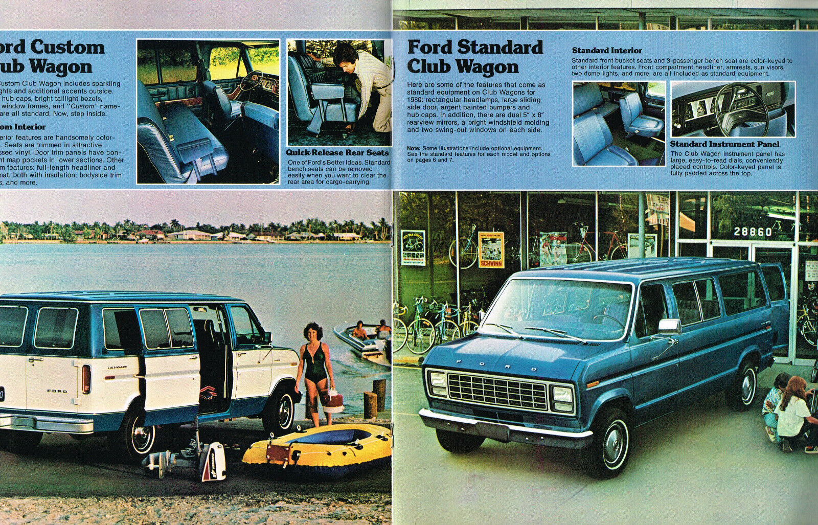 1980 Ford Club Wagon Van Brochure Catalog E 100e 150e 250350 Custom Interior 250350e100e150 For Sale
