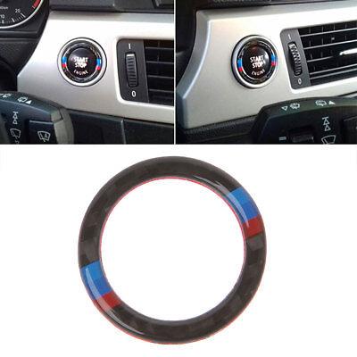 Carbon Fiber Key Start Button Ring Decor Trim For BMW 3 Series E90