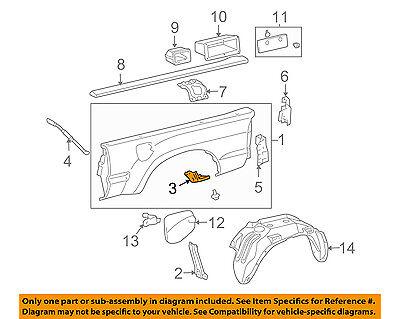 TOYOTA OEM Tacoma Rear Fender_1 toyota oem tacoma rear fender panel bed side panel bracket right