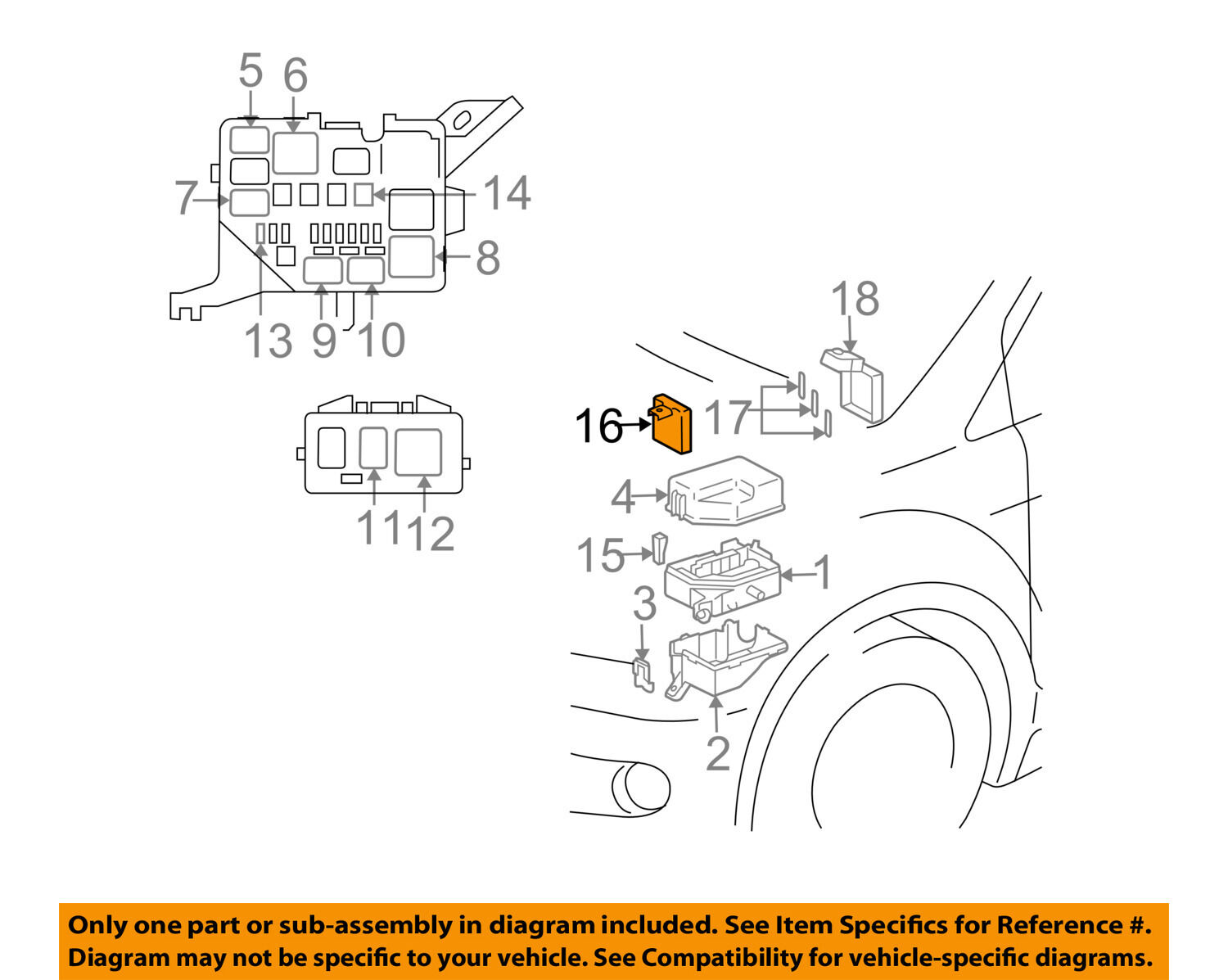 Scion Toyota Oem 04 06 Xb Electrical Fuse Relay Box 8262052011 For Ac Wiring Diagram Sale