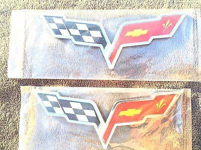 x2 CORVETTE 2X PIECES Cross Flags Car CHEVROLET TRUCK EMBLEM Sign BADGE Logo Fv