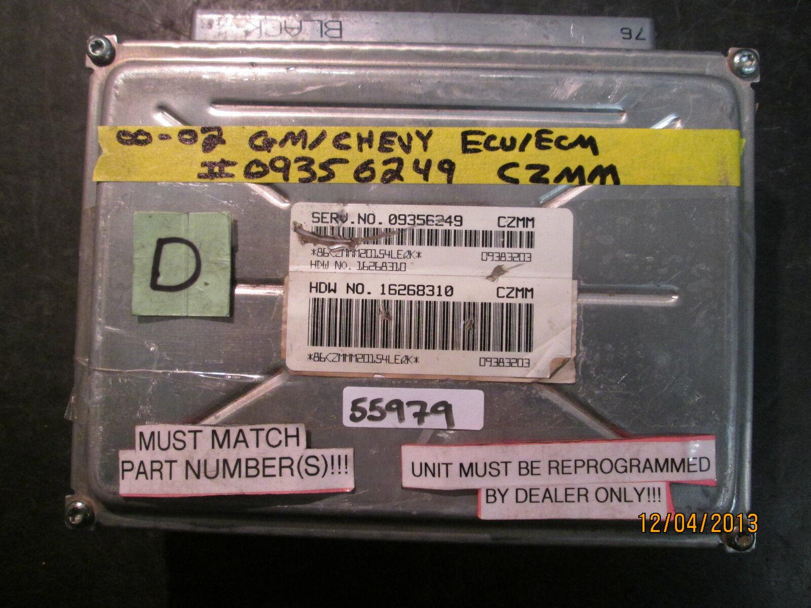 00 01 02 GM/CHEVY ECU/ECM #09356249 CZMM *See item description* For Sale