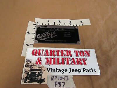 Jeep Willys CJ2A CJ3A CJ3B Firewall Patent plate US Made RP1043 P87