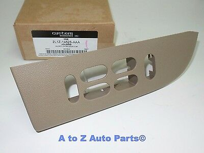 New 2003 2006 Ford Expedition Front Driver Door Panel Tan Window Switch Bezel