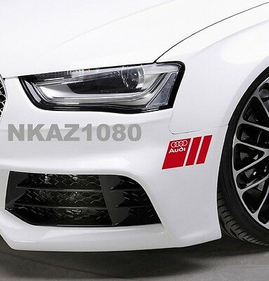 Powered by AUDI Vinyl Decal sticker Sport Racing emblem SILVER//RED