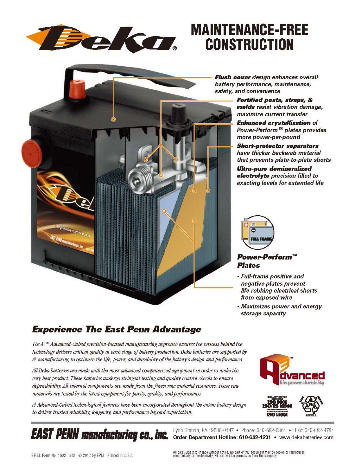 DEKA GENUINE NEW 651RMF 12-VOLT Gold Battery 615Amp Cranking