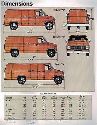 1982 Ford Econoline Van Brochure Xl E 100 150 250 350