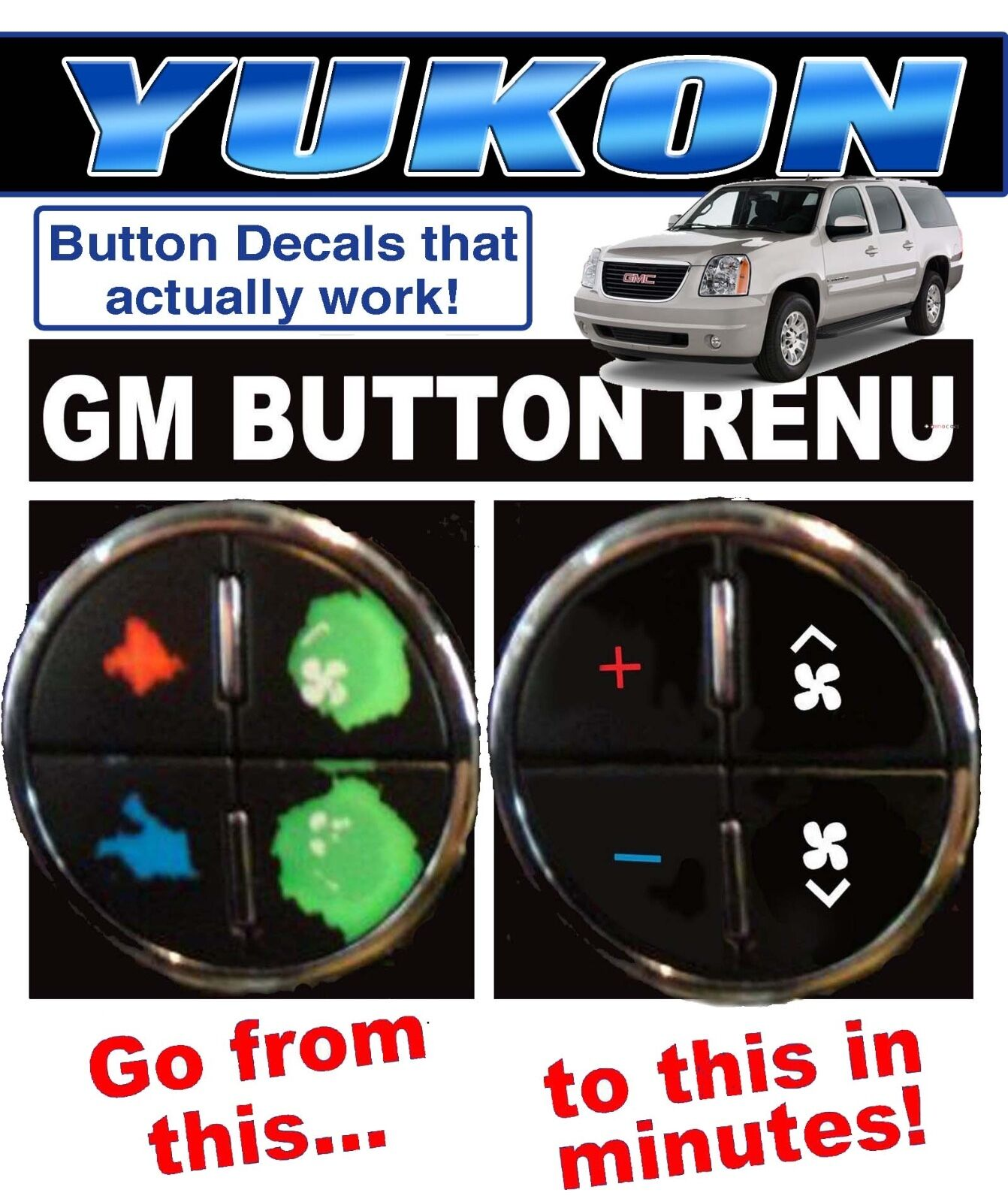 2007 2017 Gmc Yukon Ac On Decals Gm Climate Control Repair Set Worn Faded For
