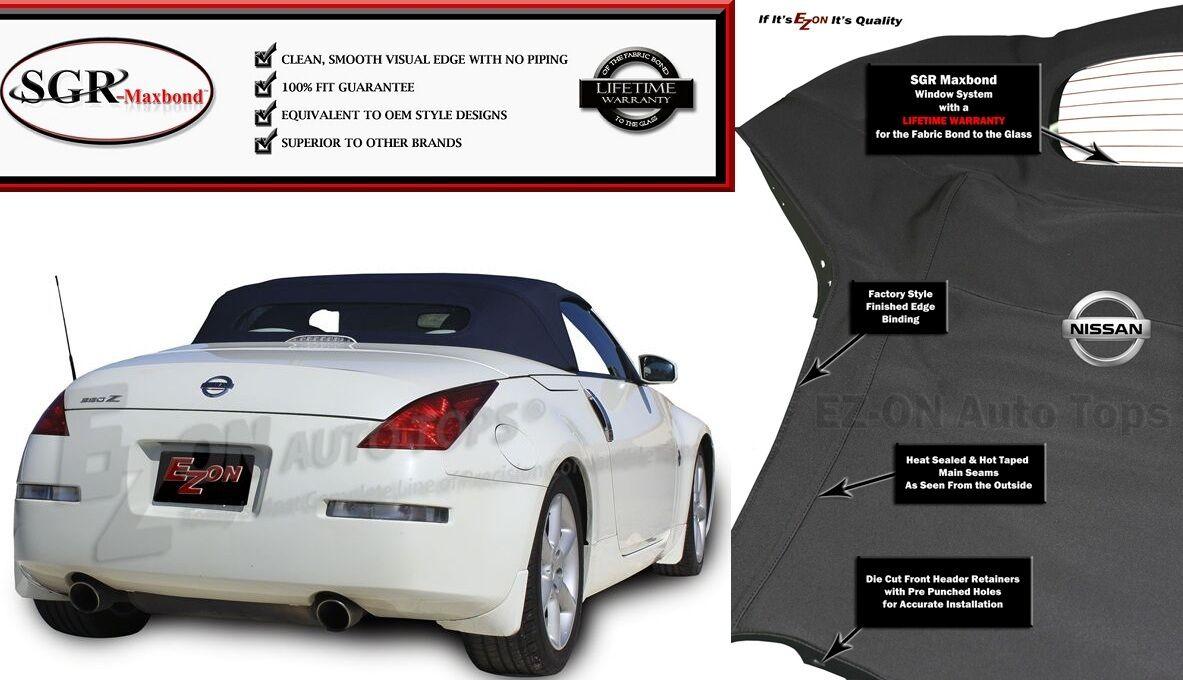 Fits: EZ ON Nissan 350Z Convertible Top & Glass Window 2003-09 Black