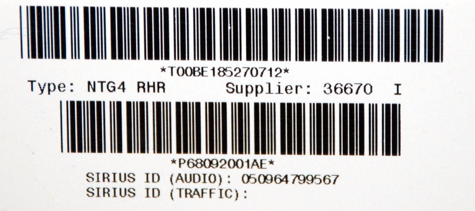 DODGE CHRYSLER JEEP LOW RHR 730N GPS MYGIG NAVIGATION CHARGER
