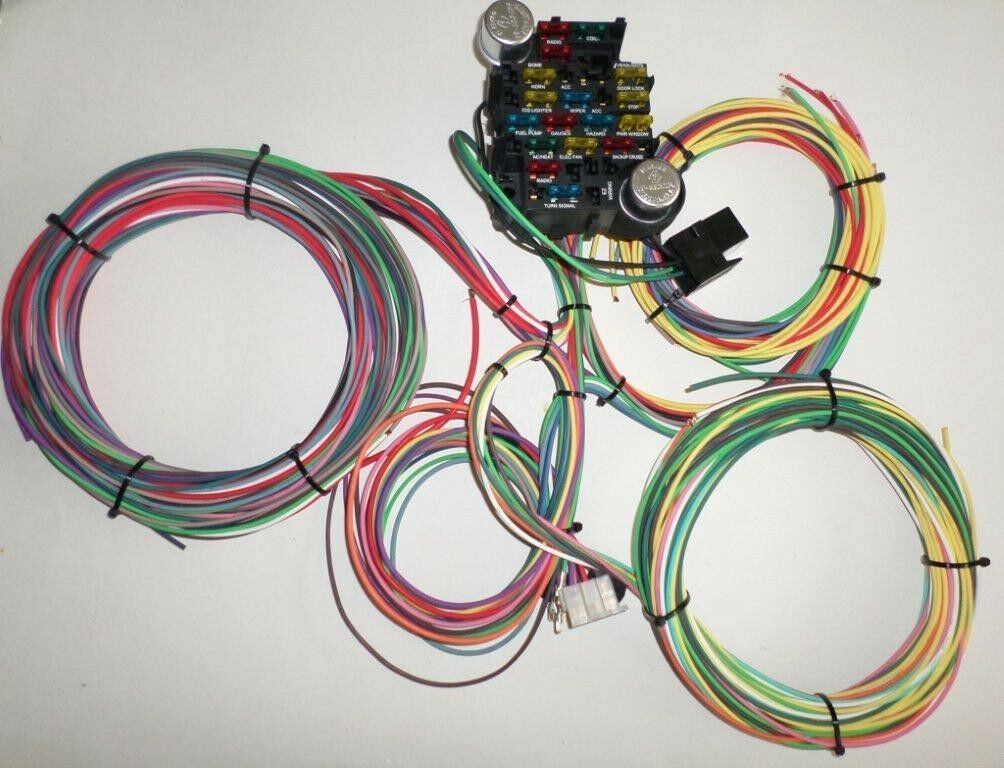 21 circuit ez wiring harness chevy mopar ford hotrods universal x-long wires!!  for sale