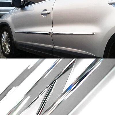 Chrome Side Skirt Door Line Sill Garnish Molding Trim Cover 4P for ALL TRIM CAR