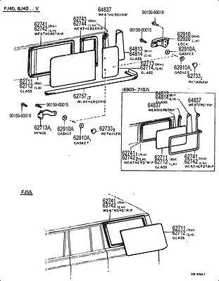 Side Window Genuine Toyota Landcruiser 76-84 FJ40 BJ40 BJ42 Weatherstrip
