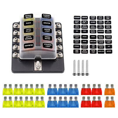 Universal 10-Way 5/10/15/20A Car SUV Offroad Fuse Box Holder ... on