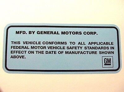 1968-76 GM Door Jamb ID Vin Number Decal Sticker Buick GS