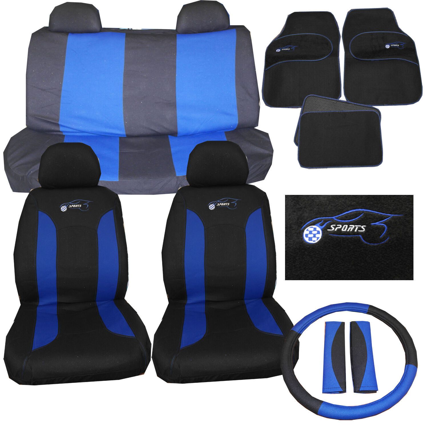 universal car seat cover set 15 pc sports logo blue fits lexus is300 is300h for sale. Black Bedroom Furniture Sets. Home Design Ideas