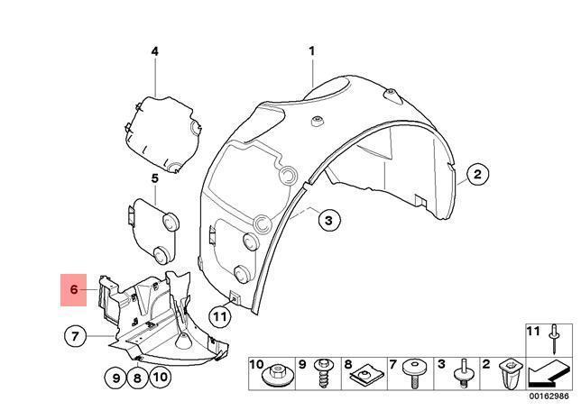 BMW NEW GENUINE Z4 E85 E86 FRONT O//S RIGHT LOWER INNER SPLASH COVER 7168996