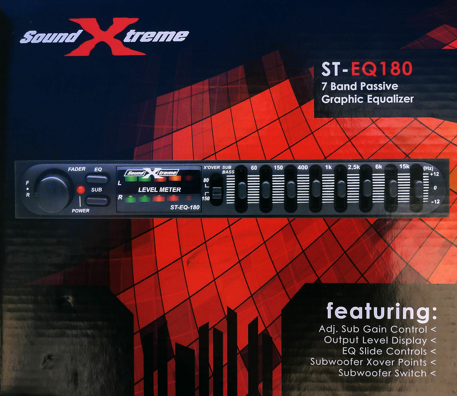 Soundxtreme Car Audio Passive Equalizer 7 Band 1 2 Din Pre Amp Eq Graphic Sub Crossover For Sale