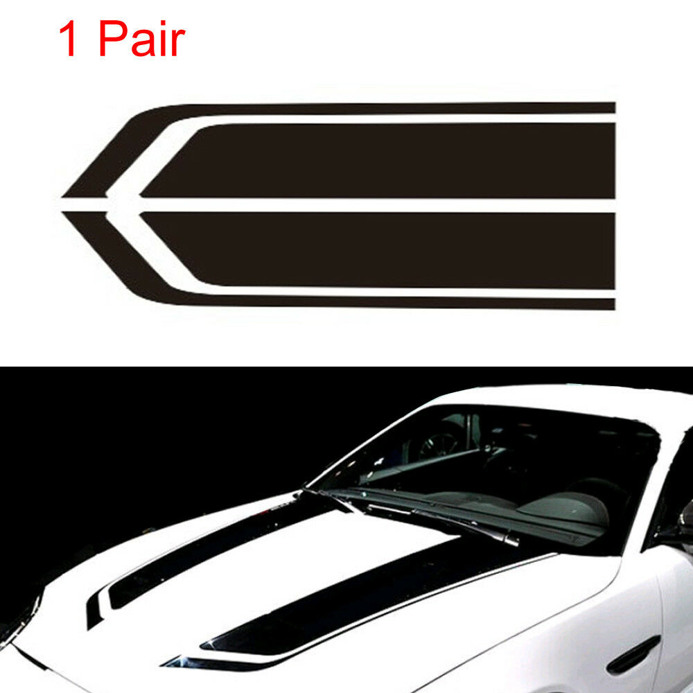 2pcs black car racing sports stripes hood decals auto vinyl bonnet stickers for sale