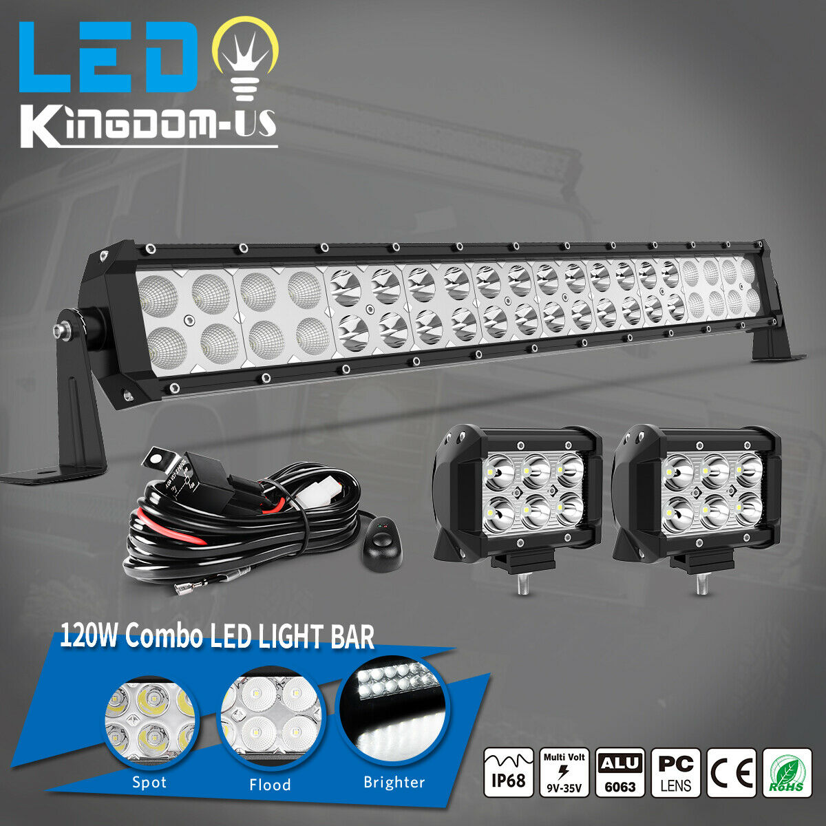24 Led Light Bar Wiring Harness Electrical Diagrams Diagram Amazoncom Mictuning 120w Spot Flood Combo Work Boat Ute Truck Atv 4wd Off Road