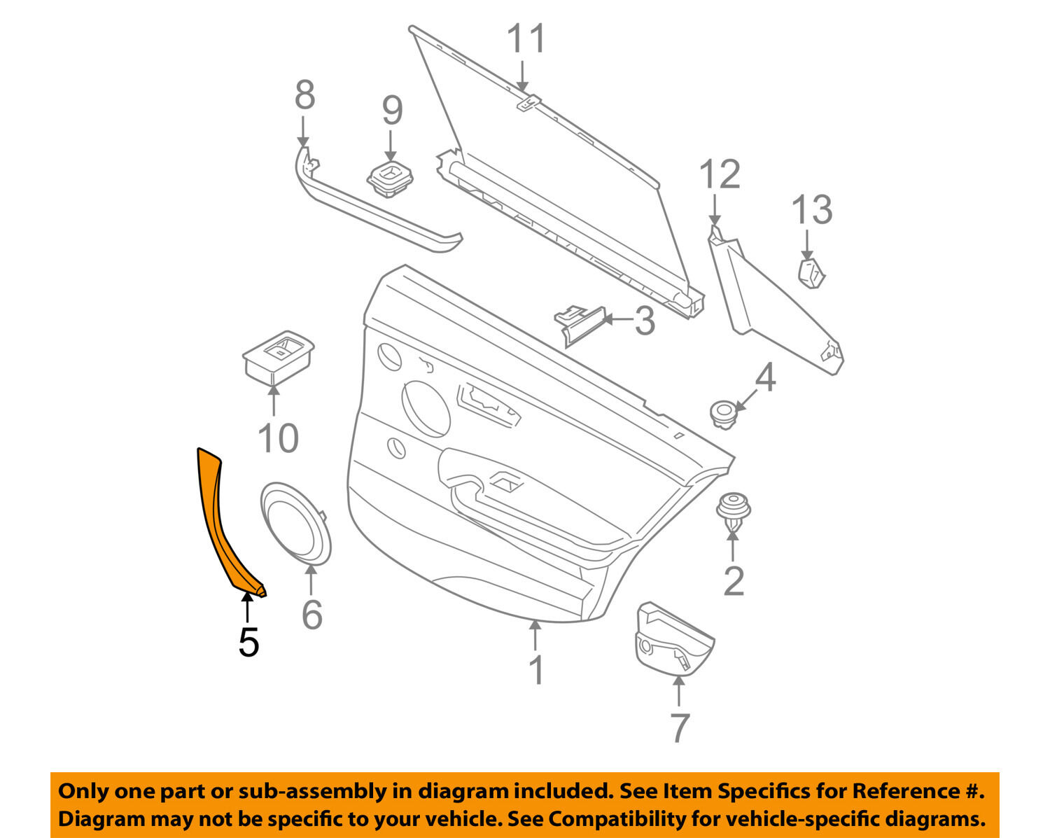 BMW OEM 07-12 328i Interior-Rear Door-Handle Molding Right 51416971294 For  Sale