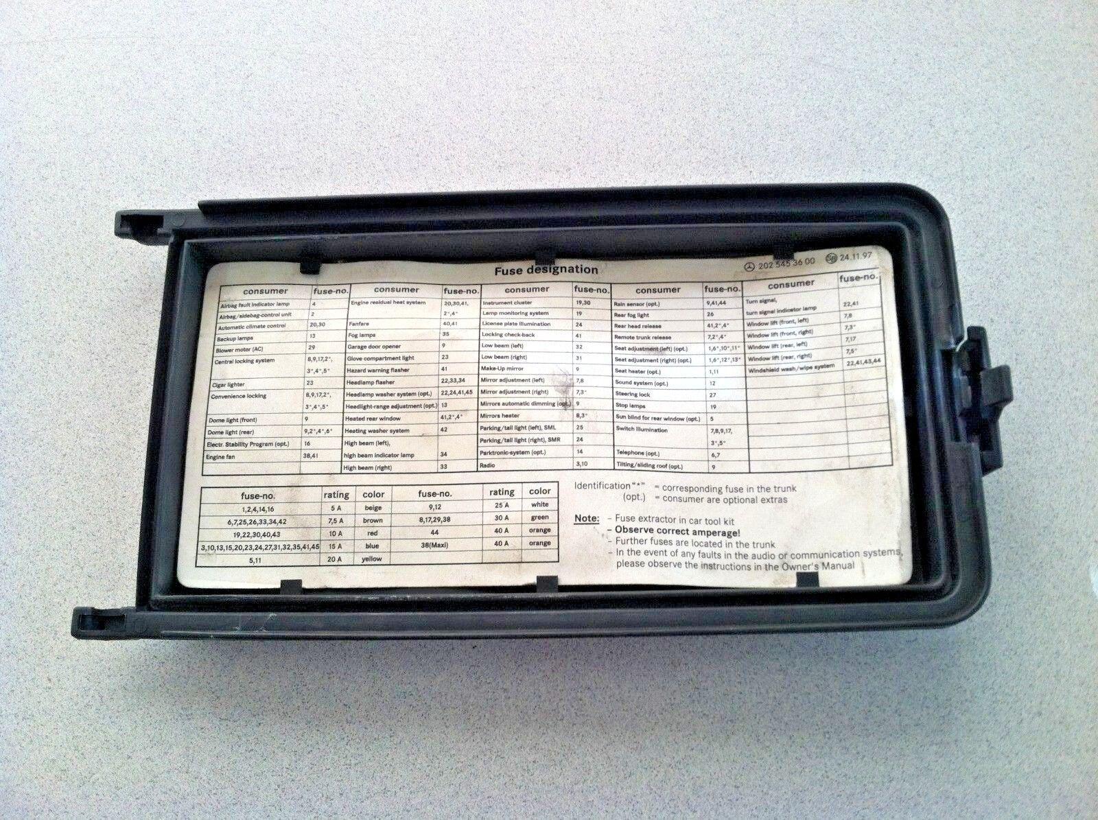 Mercedes W202 Fuse Box Location Manual Of Wiring Diagram C230 1997 2000 Benz C280 Lid Oem Part For Rh Restomods Com