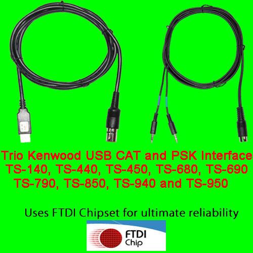 Trio Kenwood USB CAT + PSK31 Cable TS-450, TS-690, TS-790, TS850, TS