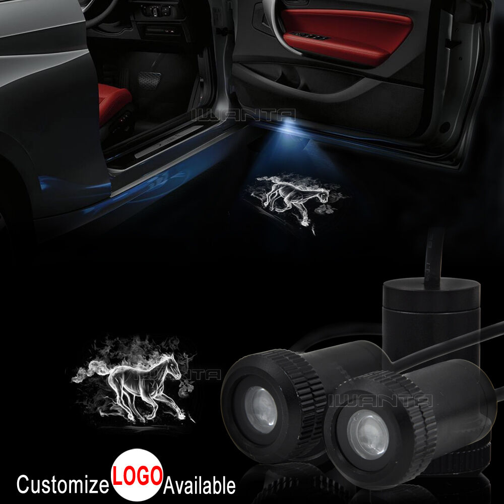 2x White Horse Logo Car Door LED Laser Projector Shadow Light For Ford Mustang For Sale