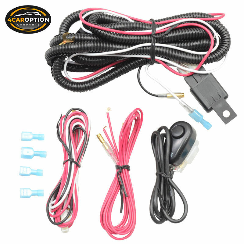 Fits Universal LED Fog Lamp 12V Wiring Harness Wire Switch Relay Kit ...