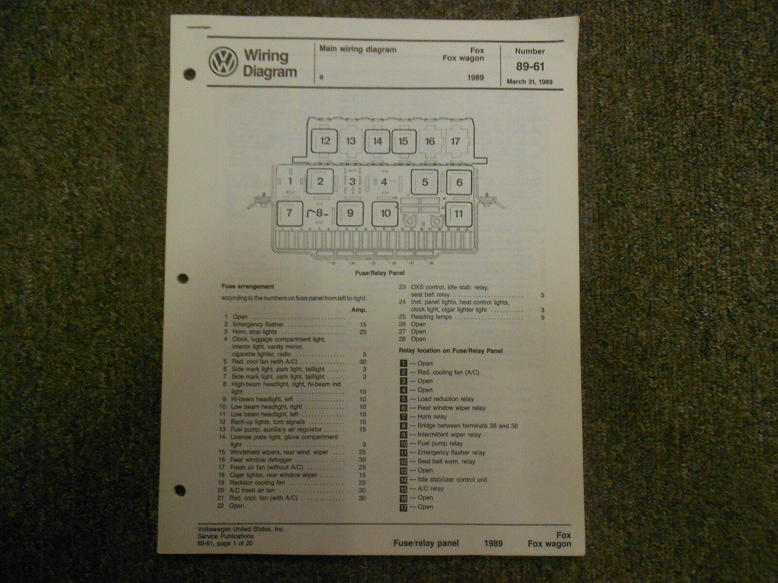 1989 VW FOX Fox Wagon Main Wiring Diagram Service Repair Shop Manual MARCH  OEM For Sale