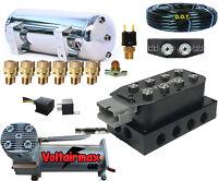"AirRide Compressor DC480 Air Bag Suspension 2500 Air Springs kit Fittings/>1//2/"""