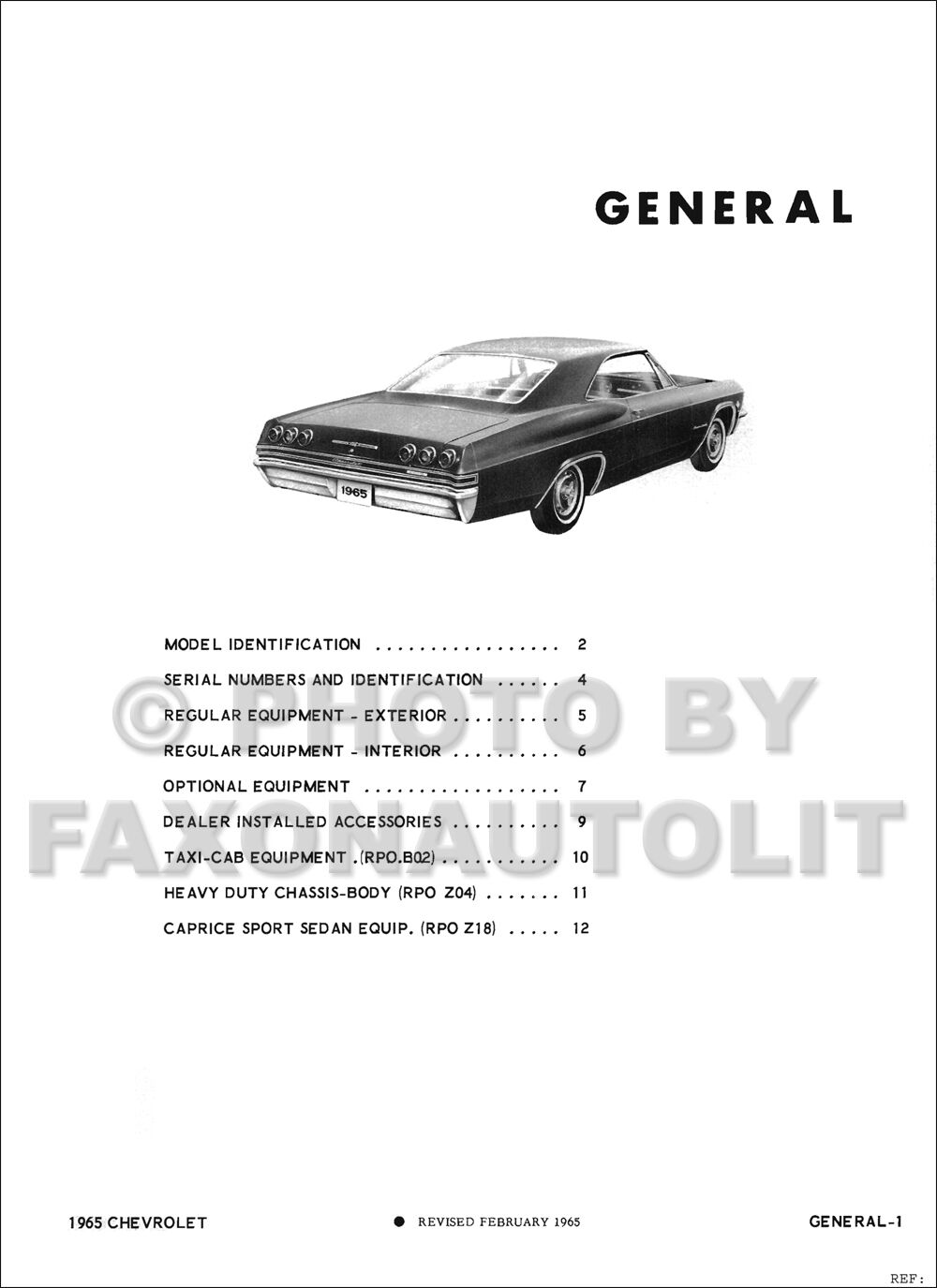 1965 Chevrolet Engineering Specifications Manual Impala