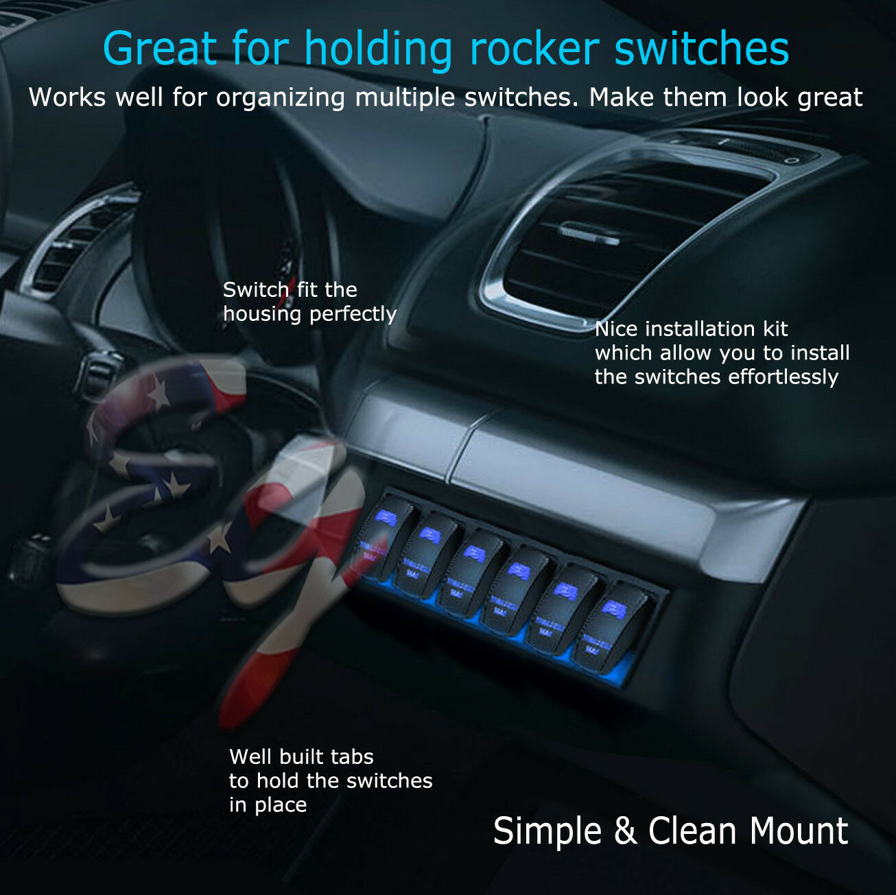 Blue Car Marine Boat 6 Gang Waterproof Circuit Led Rocker Switch Panel Breaker 4 Switches Ebay For Sale