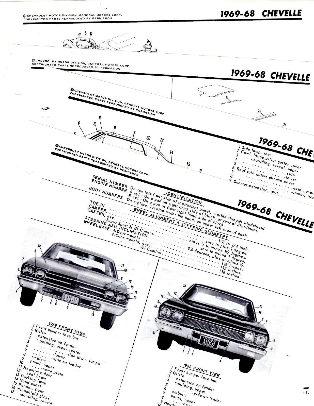 1968 1969 CHEVROLET CHEVELLE MALIBU PARTS FRAME MOTOR'S
