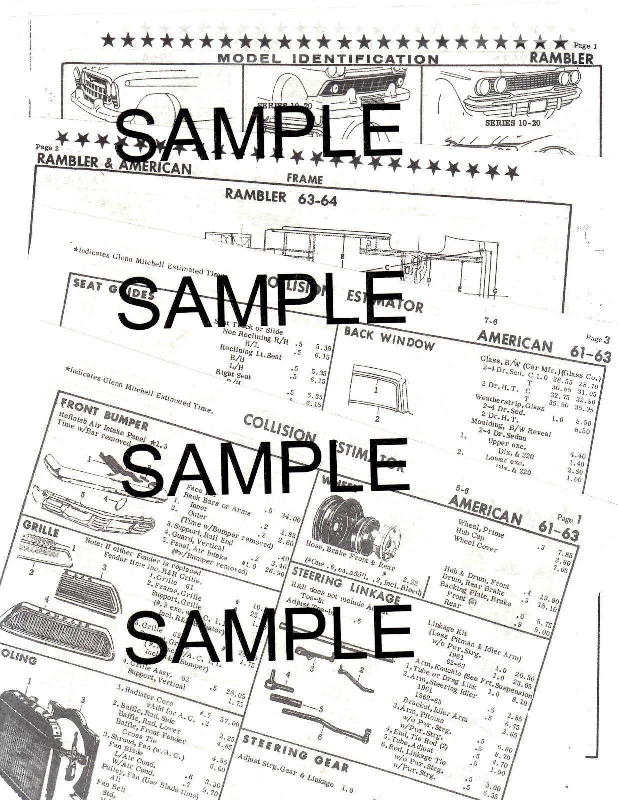 1962 CHEVROLET IMPALA BELAIR BISCAYNE 62 BODY PARTS LIST