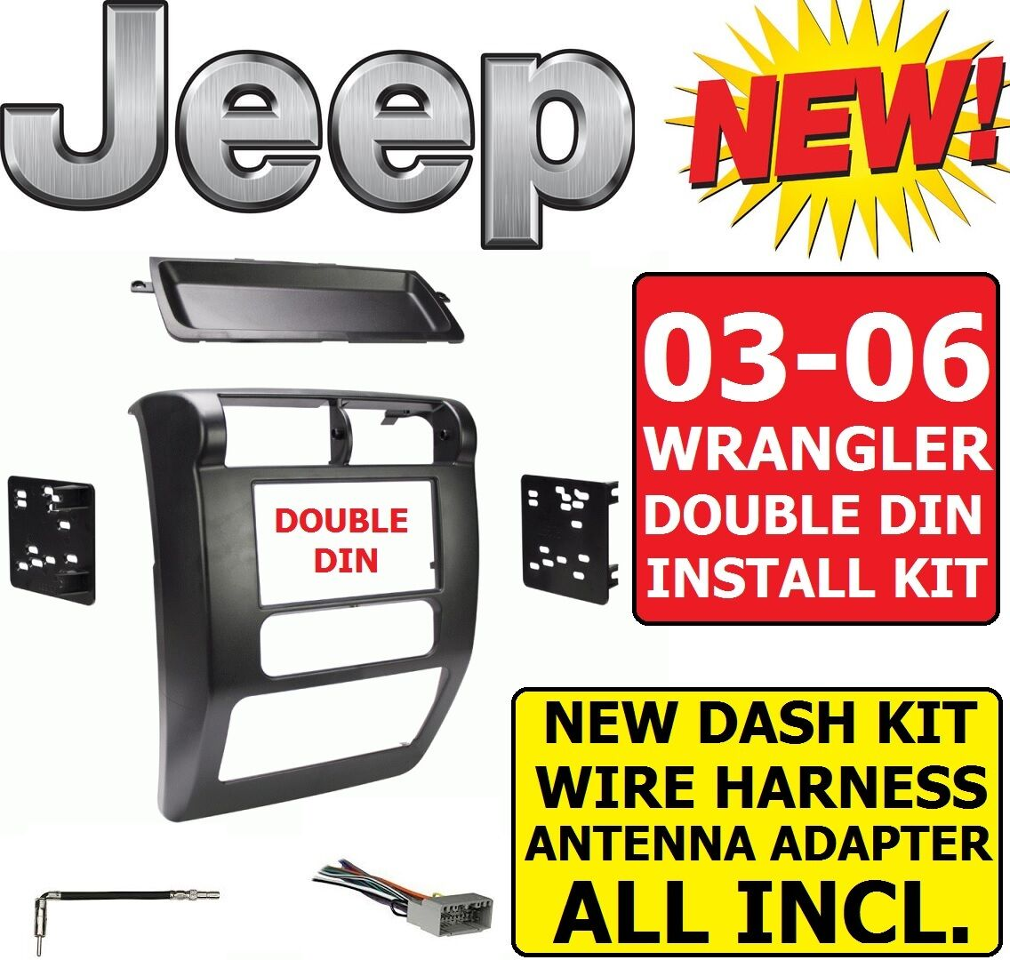 03 04 05 06 Jeep Wrangler Tj Car Radio Stereo Installation Double Liberty Wire Harness Din Dash Kit For Sale