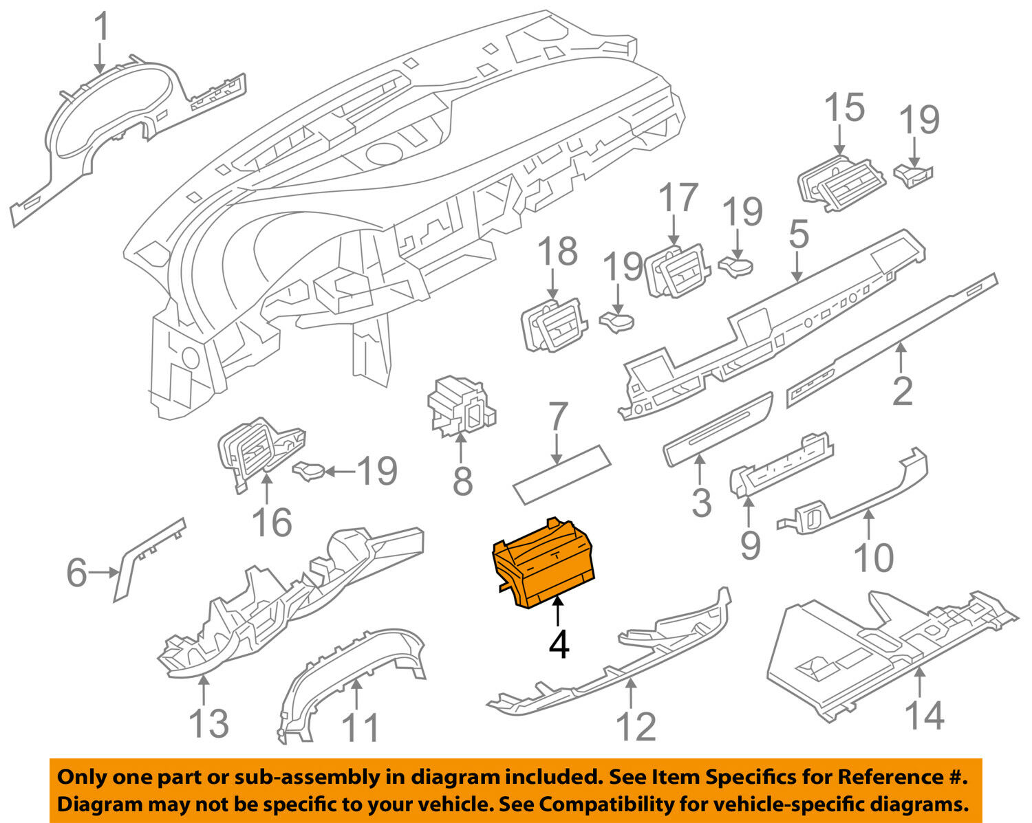 Audi D2 Engine Diagram Wiring Library Oem 14 15 A8 Quattro Instrument Panel Dash Mount 4h0857273d For Sale