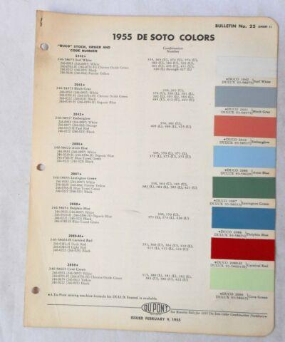 1955 Dodge Dupont Color Paint Chip Chart All Models Original Mopar
